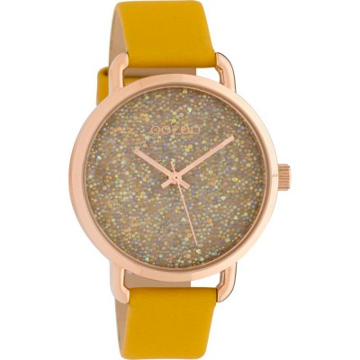 OOZOO Timepieces Rose Gold Yellow Leather Strap C10462