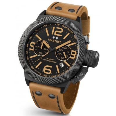 TW STEEL Canteen 50mm Brown Leather Strap CS42