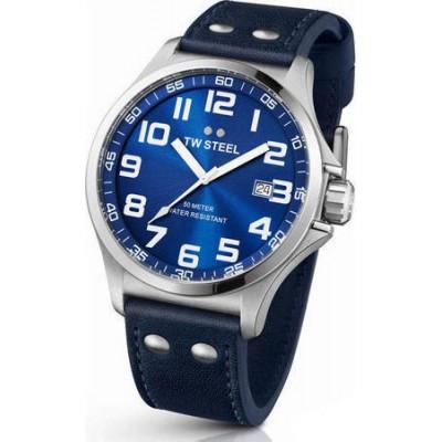 TW STEEL Pilot XLarge Blue Leather Strap TW401