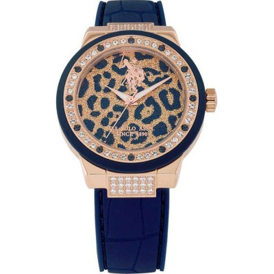 U.S. POLO Crystals Rose Gold Blue Leather Strap USP5209BL